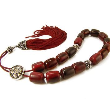 Red Horn Komboloi, Greek Worry Beads, Metal Shield Bead &Traditional Red Tassel