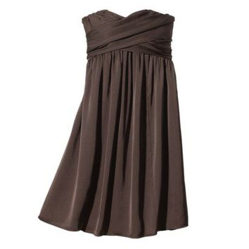 TEVOLIO™  Women's Strapless Wrap-Front Silky Chiffon Dress - Neutral Colors