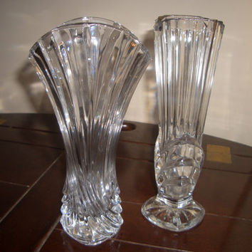 Two Beautiful Vintage Hand Cut Lead Crystal Vases by susanlewis623
