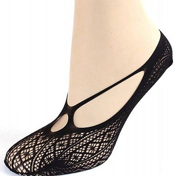 1 pair Sexy Women Cross Lace No Show Peds Antiskid Invisible Liner Low Cut Socks clothing accessories
