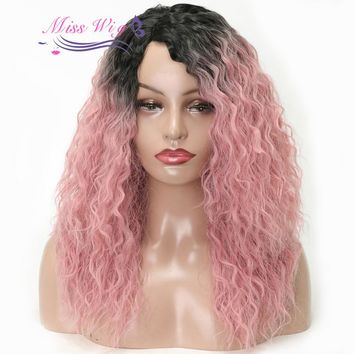 MISS WIG Lace Front Wig Long Curly Pink Color Wigs For Women Synthetic Hair Heat Resistant Fiber Lace Handmade More Natural