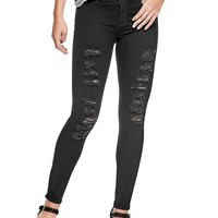 Mid-Rise Destroyed Skinny Jeans at Guess