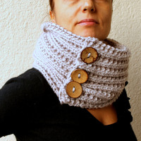 Winter Accessories / Hand Knitted / Chunky Infinity Scarf / Circle Scarf With Big Buttons - Shimmery Grey Gray