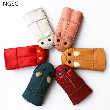 NGSG Lovely children warm winter Fur gloves The mouse design Cartoon cute gloves Boys and girls Six colors Leather sheepskin