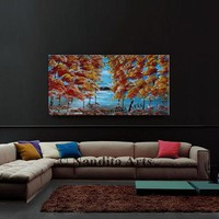 """Tree Painting 48"""" Original Autumn tree art on canvas, Beautiful red rich color tree artwork, Unique style wall art by Nandita Albright"""