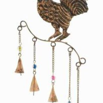 Benzara Metal Expertly Crafted Rooster Wind Chime with Conical Bells