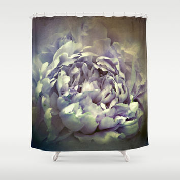 Blushing Vintage Lavender Peony - Floral Shower Curtain by Jai Johnson
