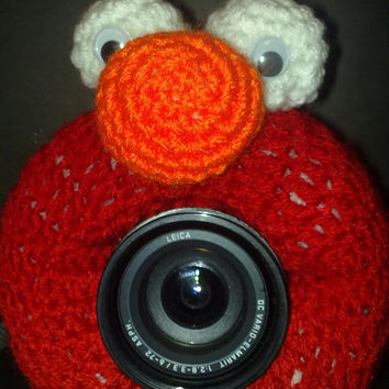Camera Cover, Photographer Equipment, Photographer Accessory,  Crochet Elmo Like, Stuffed Elmo Like, Stuffed Cover, Red Monster