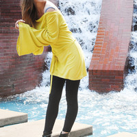 Lime Bell Sleeve Blouse Tunic Renaissance Top Womens Clothing - Lime Yellow