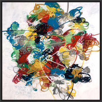 SILLY STRING 28L X 28H Floater Framed Art Giclee Wrapped Canvas