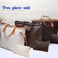 LV  two piece  shopping leather hot Handbag Shoulder and bag purse wallet a set two-piece for girls