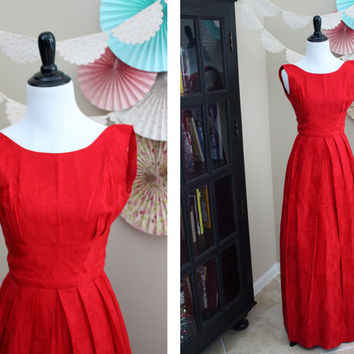 Vintage 1960's Bright Red Rose Brocade Handmade Floor-Length Sleeveless Mid Century Evening Cocktail Dress + X-SMALL