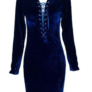 3 Colors Long Sleeve Velvet Lace Up Lattice Plunge Deep V Neck Bodycon Fall Mini Dress Sexy Spring Tied Front Vintage Clothing