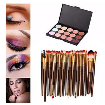 Pro 20 pcs/set Makeup Brush Set (15 Colors Concealer + 20 BRUSH) Gift