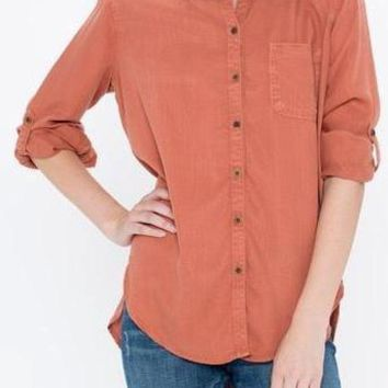Maggie Tencel Button Up in Rust