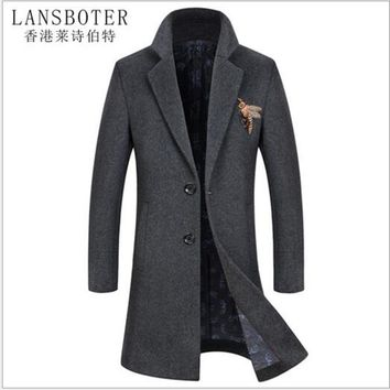 LANSBOTER brand men's autumn and winter new woolen coat men thickening long men's wool coat men's fashion wool coat M-4XL8718