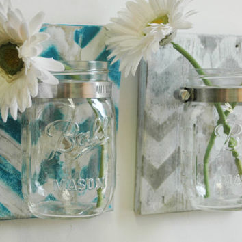YOU PICK Chevron Wall Decor Pair Two Mason jars mounted on recycled wood shabby chic rustic wall decor