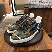 D&G DOLCE & GABBANA Men's Leather Fashion Low Top Sneakers Shoes