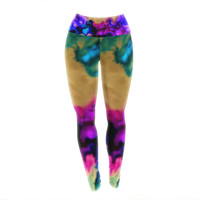 """Claire Day """"Lovely"""" Pink Blue Yoga Leggings"""