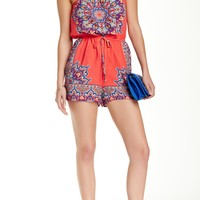 Strapless Placed Print Romper