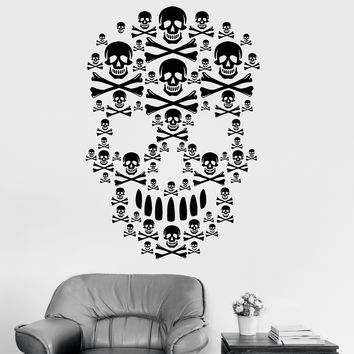 Vinyl Wall Decal Skulls Horror Skeleton Bone Scary Decor Stickers Mural Unique Gift (ig3413)