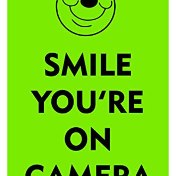 "Smile You're On Camera 12""X18"" Aluminum/PVC Sign"
