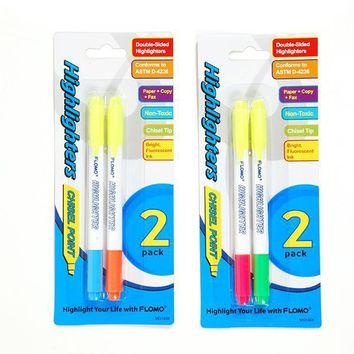 2 pack Double Edge Chisel Tip Highlighters - CASE OF 48