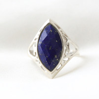 925 Sterling Silver Lapis Lazuli Ring in Marquie Cut