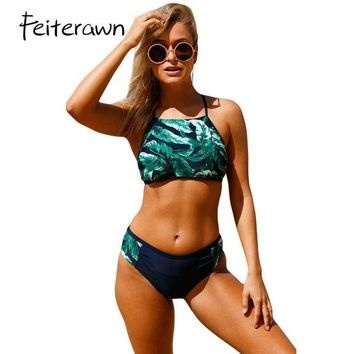 VONETDQ Feiterawn 2017 Tankini Set Palm Leaf Print Self-tie High Neck Swimsuit Women Tankini Top Swimwear Padded Bathing Suit DL410188
