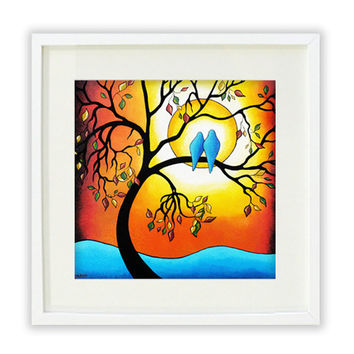 Giclee Print - Blue Love Birds Poster Print - Tree of Life Abstract Landscape Orange Blue Wall Art - 13x13 Signed
