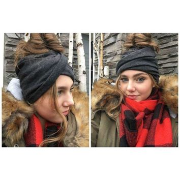 Slouchy ponytail beanies A1