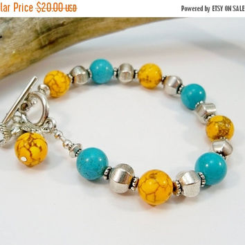 Christmas Sale Howlite Turquoise Bracelet, Single Strand Bracelet, Silver and Turquoise, Yellow Howlite Bracelet, Hummingbird Charm