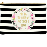 Fire In Her Soul   Canvas Makeup Bag