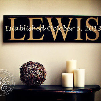 Custom Personalized Family Name Sign with Wedding Date established date