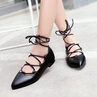 Pointed Toe Strappy Ballet Flats Shoes 4262