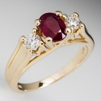 Ruby & Diamond Three Stone Engagement Ring 14K Gold