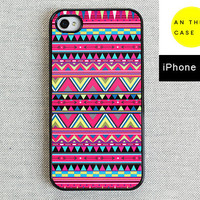 iPhone 4 case iPhone 4s case  pink Aztec pattern by AnotherCase