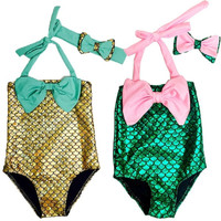 New Baby Girls Little Mermaid Bikini Suit Swimmable Swimming Costume Swimsuit