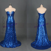 Long royal blue sequins evening dress with rhinestones,sparkly women gowns for prom party,inexpensive graduation prom dress on sale.