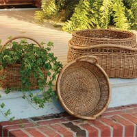 Artisan Baskets with Rattan Pole Handles - Set of 3
