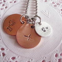 Copper And Aluminium Hand Stamped Necklace With Personalized Customized Charms