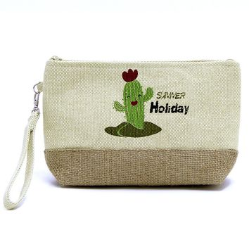 Catus Fabric Zipper w/ Wristlet Cosmetic Bag