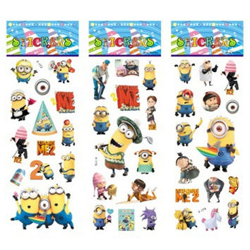 6 sheets set Minions stickers for kids Home wall decor on laptop Despicable Me mini 3D sticker decal fridge skateboard doodle