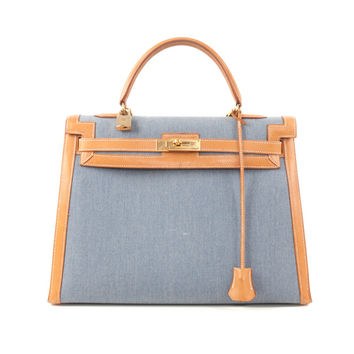 Hermes Blue Denim Kelly Bag