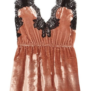 Rosamosario - Coprimi d'Amore lace-trimmed silk-velvet camisole