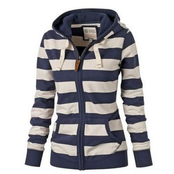 Women's Striped Lightweight Hoodies Zip up Active Sweatshirt