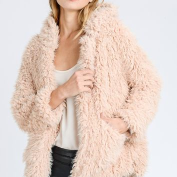 2018 Fall Fur Fuzzy Hooded Jacket Pink