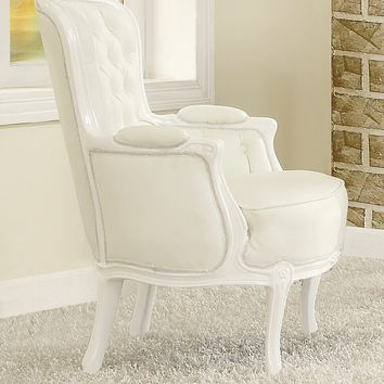 A.M.B. Furniture & Design :: Living room furniture :: Accent chairs :: Cain neo classic white faux leather and white finish wood frame tufted back accent side chair with carved wood design trim