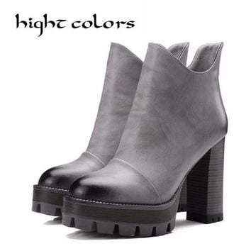 Size 10 Women High PU Leather Platform Shoes Zip Ankle Knight Boots Chunky Heel Pumps