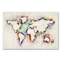 30'' x 47'' ''World Map - Paint Splashes'' Canvas Wall Art by Michael Tompsett (Beige/Khaki)